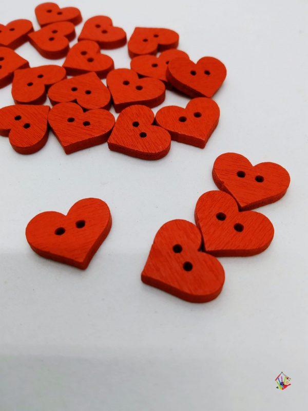 Гудзики сердечка червоні