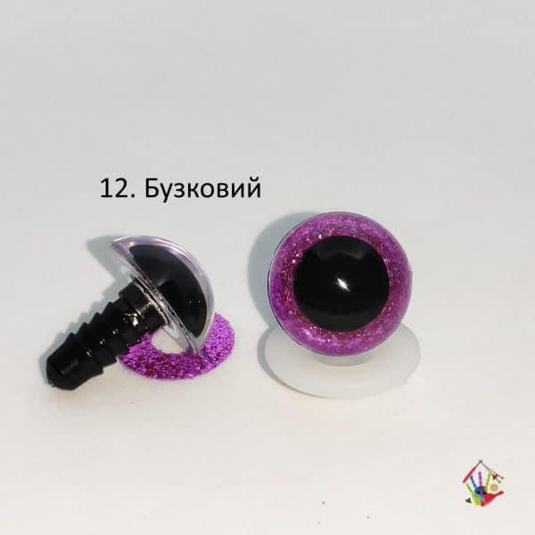 Очі напівсфери з блискітками 18 мм бузкові